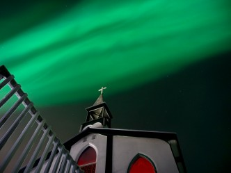 Aurora over Holy Name of Mary Church, Tsiigehtchic