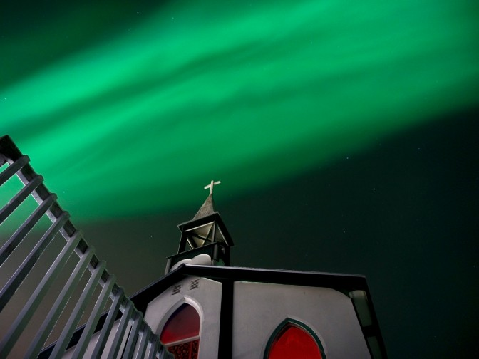 Aurora over Tsiigehtchic Church